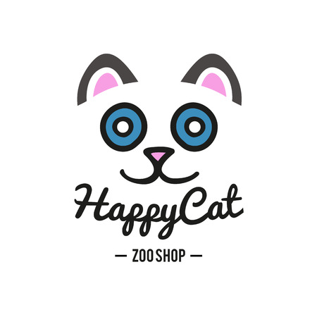 Vector logo with cat face for zoo shops and vet clinics Ilustrace