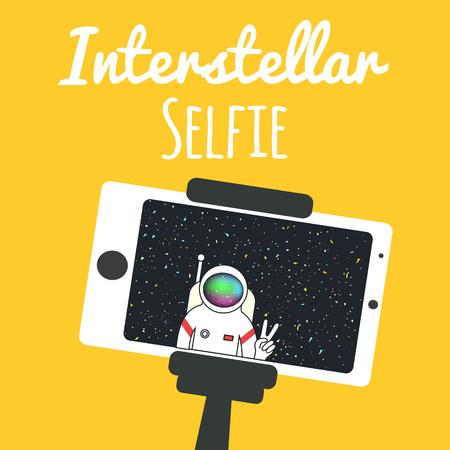 Vector illustration with spaceman. Interstellar selfie