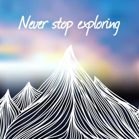 Farbenfroher Himmel und Text - hören Sie nie auf zu erkunden. Motivierendes und inspirierendes Poster Vektorgrafik