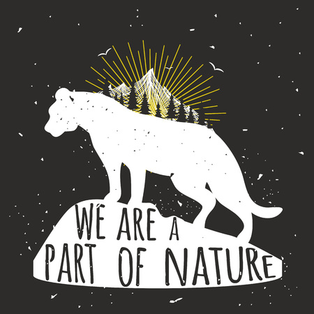 Hand drawn typography poster with animal. Inspirational vector illustration Illustration