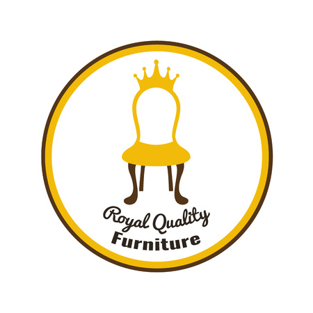 Chair with crown - royal quality furniture. Perfect logo, label or badge for furniture shops, salons and exhibition