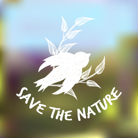 Ecology concept illustration Save the nature bird