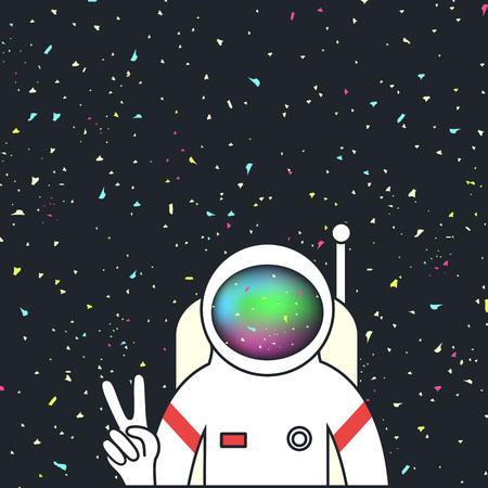 Spaceman/astronaut make peace sign by hand in space with stars on the background 矢量图像