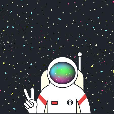 Spaceman/astronauta fanno il segno della pace a mano nello spazio con le stelle sullo sfondo Vettoriali