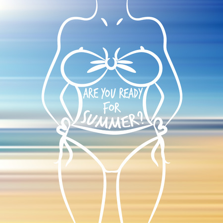 Woman body and text - are you ready for summer? inspirational poster for fitness gyms and health journals Ilustração