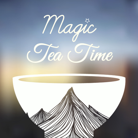 Magic tea time. Cup, mountains and text Ilustrace