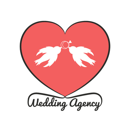 Wedding agency template with birds and rings Imagens - 122793069