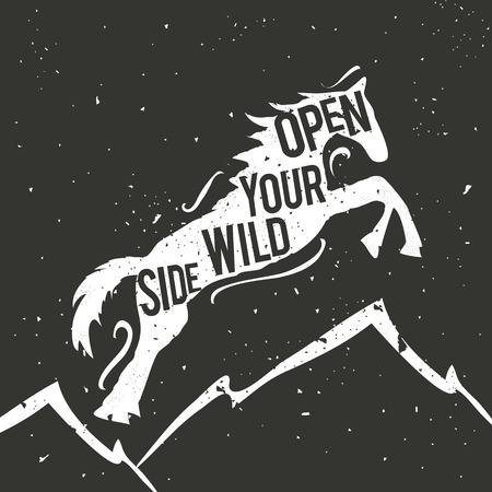Vintage vector hand drawn typography poster with white jumping horse and mountains. Open your wild side. Inspirational and motivational illustration