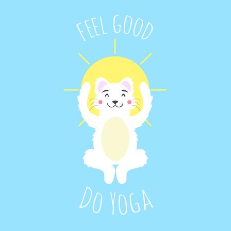Vektormeditationskatze mit großer gelber Sonne. Wohlfühlen – Yoga machen. Motivierendes Gesundheitsposter