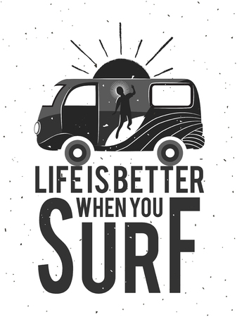 Typography poster with man, car, surfing and text