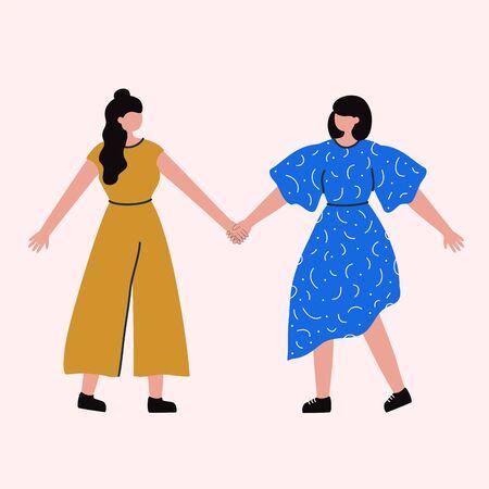 Female friends, union of feminists, sisterhood. Trendy colored art