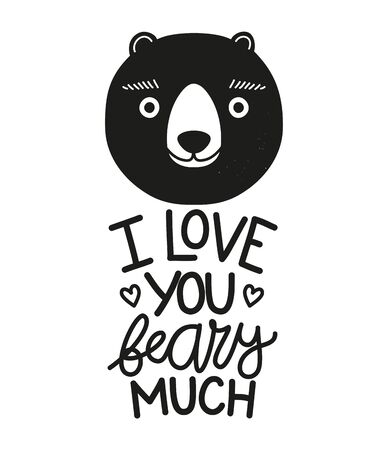 Cute and funny print design, lovely typography poster with animal Иллюстрация