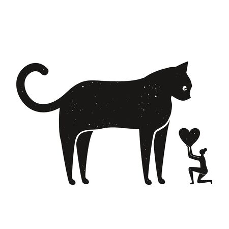 Funny domestic animal print design, humor concept art of real relationship between cats and people