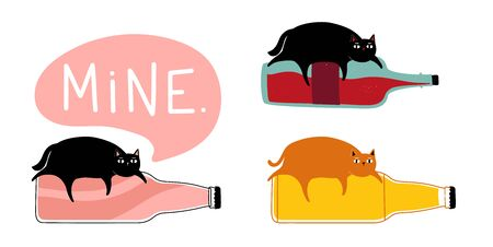 Funny collection with animals and hot drinks Illustration