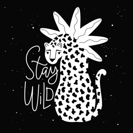 Vintage style illustration with animal and doodle plant, apparel black white print design