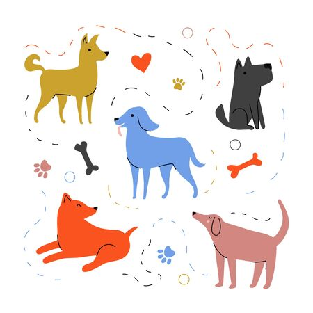 Colored apparel print design with pet Standard-Bild - 133333429