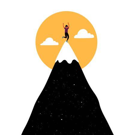 Concept d'impression gagnant et succès, illustration vectorielle de randonnée et de sport