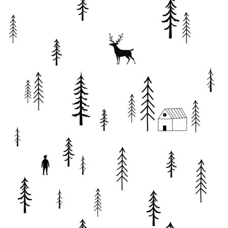 Cute tiny print design with animal and nature