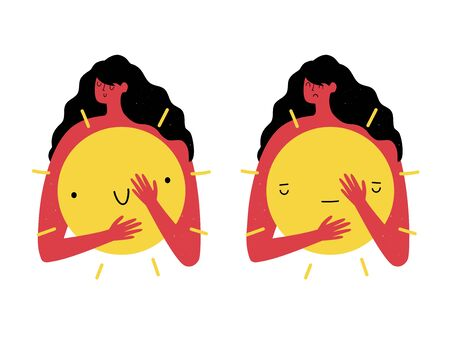 Happy and sad faces set. Summer cartoon style print design, concept art of tanning, redness of the skin and the dangers of solar radiation Illustration