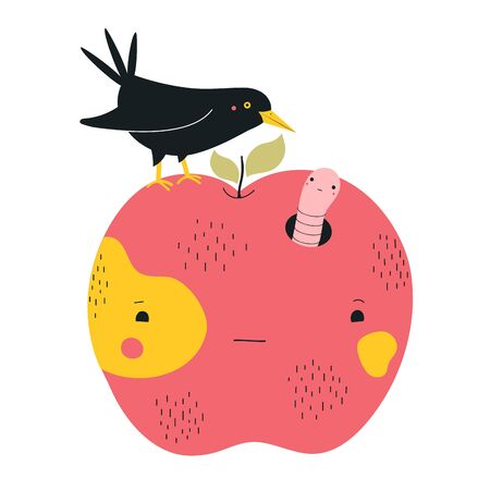 Funny cartoon style print design with fruit and animals, life cycle, awkward situation