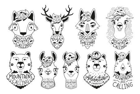 Apparel, greeting card, sticker print designs Illustration