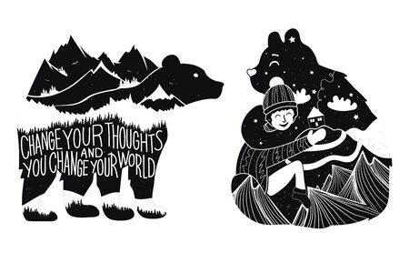 Typography poster collection with animals, mountains, forest, house, stars and clouds.