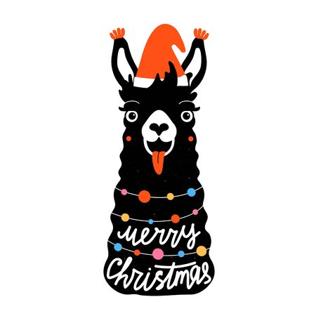 Holiday greeting card template, apparel and sticker print design with animal