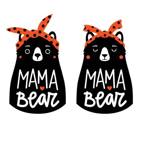 Illustration vectorielle avec des ours dans des bandeaux rouges et texte de lettrage Mama Bear. Ensemble d'affiches de typographie drôle, conception d'impression de vêtements