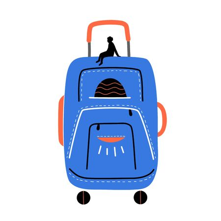 Luggage, travel bag. Long waiting at the airport, life on the road. Vacation, voyage Illustration