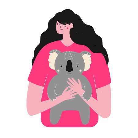 Concept art of saving life of koalas and all Australian animals, ecology problems print design Illustration