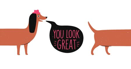Humor typography poster with dog, greeting card design, colored apparel print Illustration