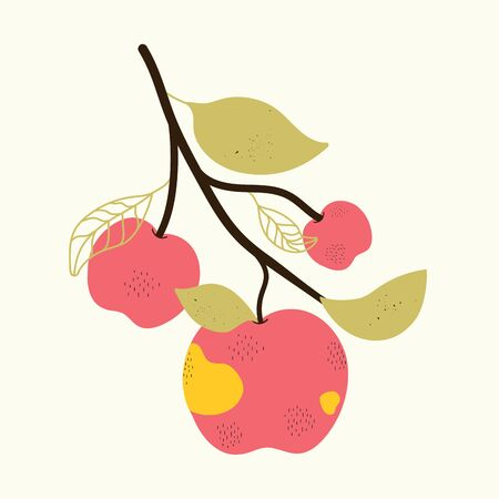 Trendy minimalist print design with organic fruits
