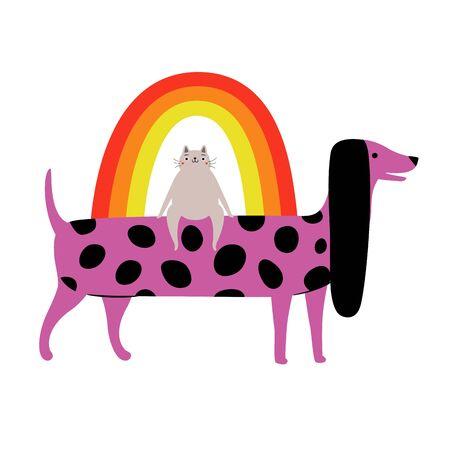 Funny print design with cartoon pet