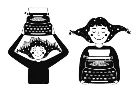 Writing book process. Flat cartoon monochrome print designs Stock Vector - 139292285