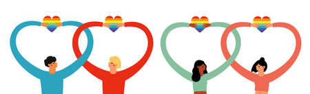 Non-traditional families and couples. Different people, couple holding rainbow hearts. Equality in rights vector illustration set