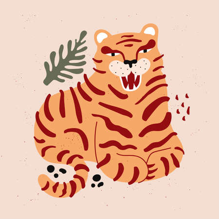 Abstract vector illustration with striped tiger, rocks and plant. Trendy print design with wild animal, home decoration poster template