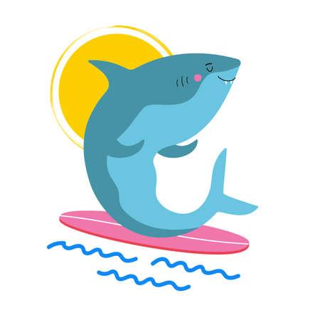 Vector illustration with surfer shark on surfboard. Trendy vacation print design, emblem template