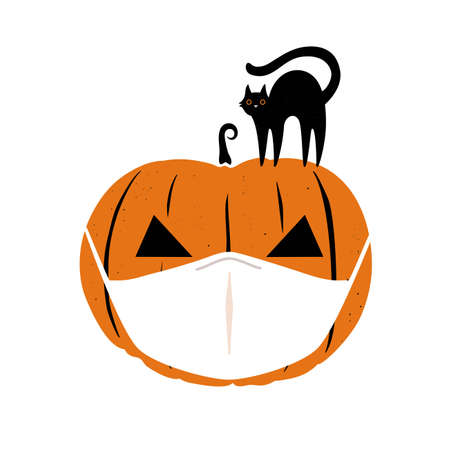 Halloween 2020 coronavirus greeting card with black cat and orange pumpkinin in white medical face mask. Concept of coronavirus people lifestyle, holiday celebration. Vector illustration