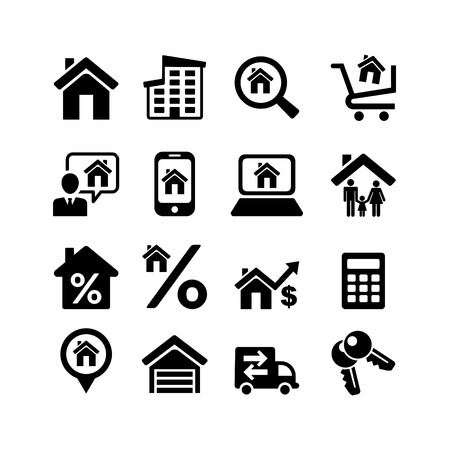 family home: Set 16 web icons  Real Estate