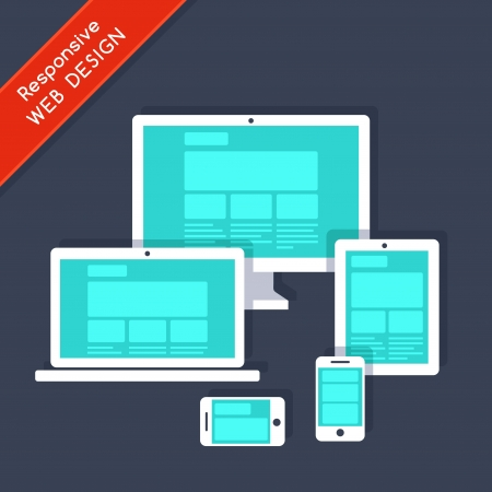 user friendly: Responsive web design on different devices Illustration