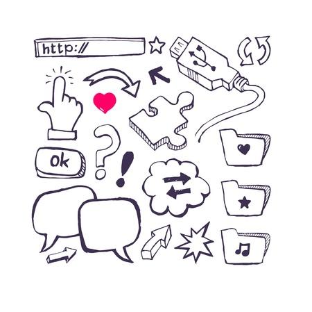 Internet set with arrows, speech  Hand draw Stock Vector - 20307459