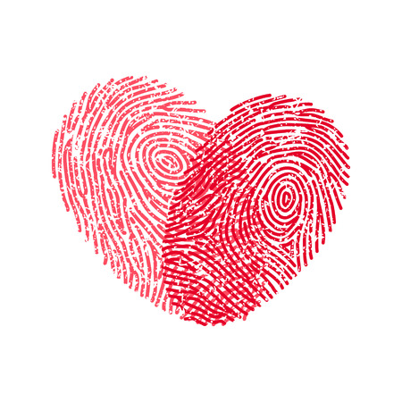 finger print: Fingerprint heart