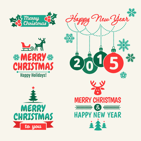 New year 2015  Set of typographic elements and vintage labels  Vector