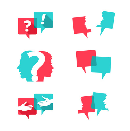 personas platicando: Conjunto de burbujas del discurso con las personas y signo de interrogación Vectores