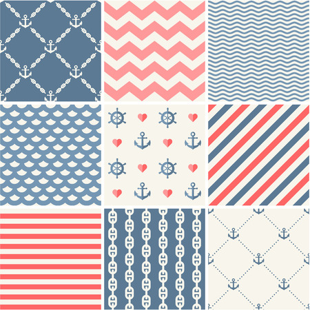 navy blue: Navy vector seamless patterns set Illustration