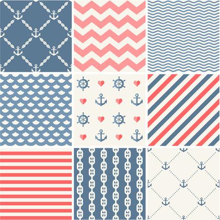 marine: Navy vector seamless patterns set Illustration