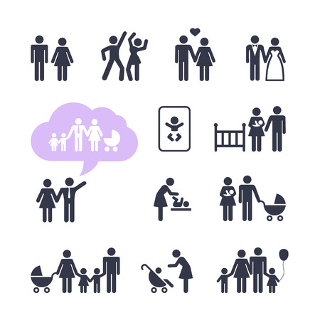 People Family Pictogram  Web icon set  People Family Pictogram  Web icon set   Çizim