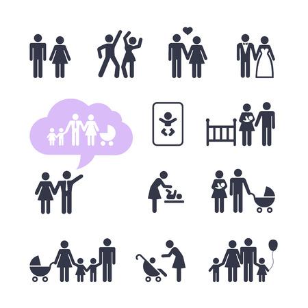 familia: Gente Familia Pictograma icono Web conjunto de iconos Web Gente Familia Pictograma conjunto Vectores