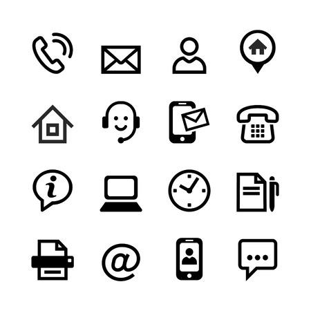 mobile headset: Set 16 iconos b�sicos - Contacte con nosotros Marcar 16 iconos b�sicos - en contacto con nosotros Vectores