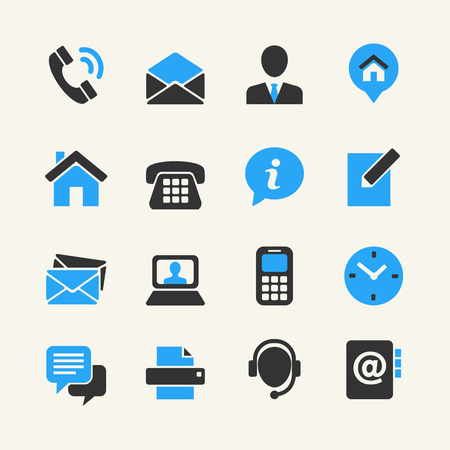 web address: Web communication icon set  contact us  Illustration
